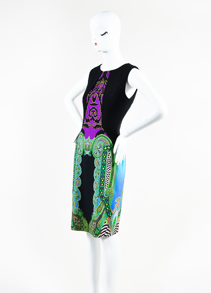 Etro Black, Purple, and Green Multi Print Overlay Bust Sheath Dress Sideview