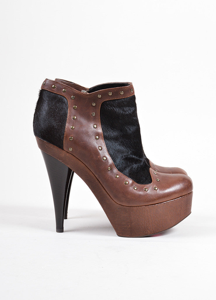 Fendi Brown and Black Leather Pony Hair Studded Platform High Heel Booties Sideview