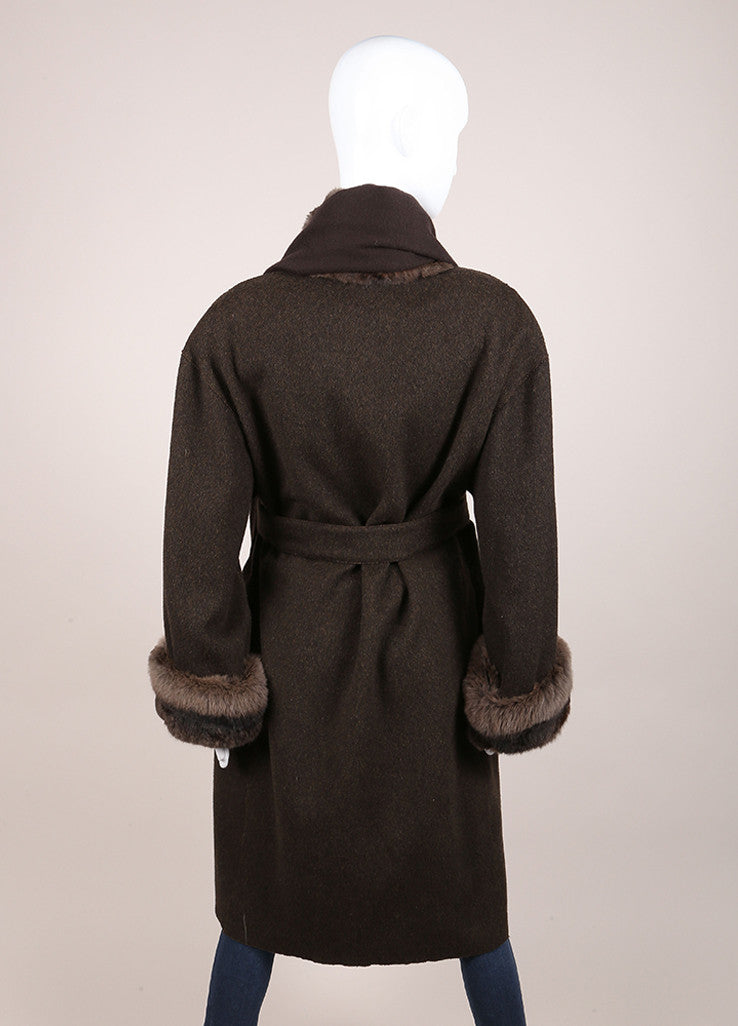 Fendi Brown Cashmere Fur Trim Belted Full Length Long Sleeve Coat Backview