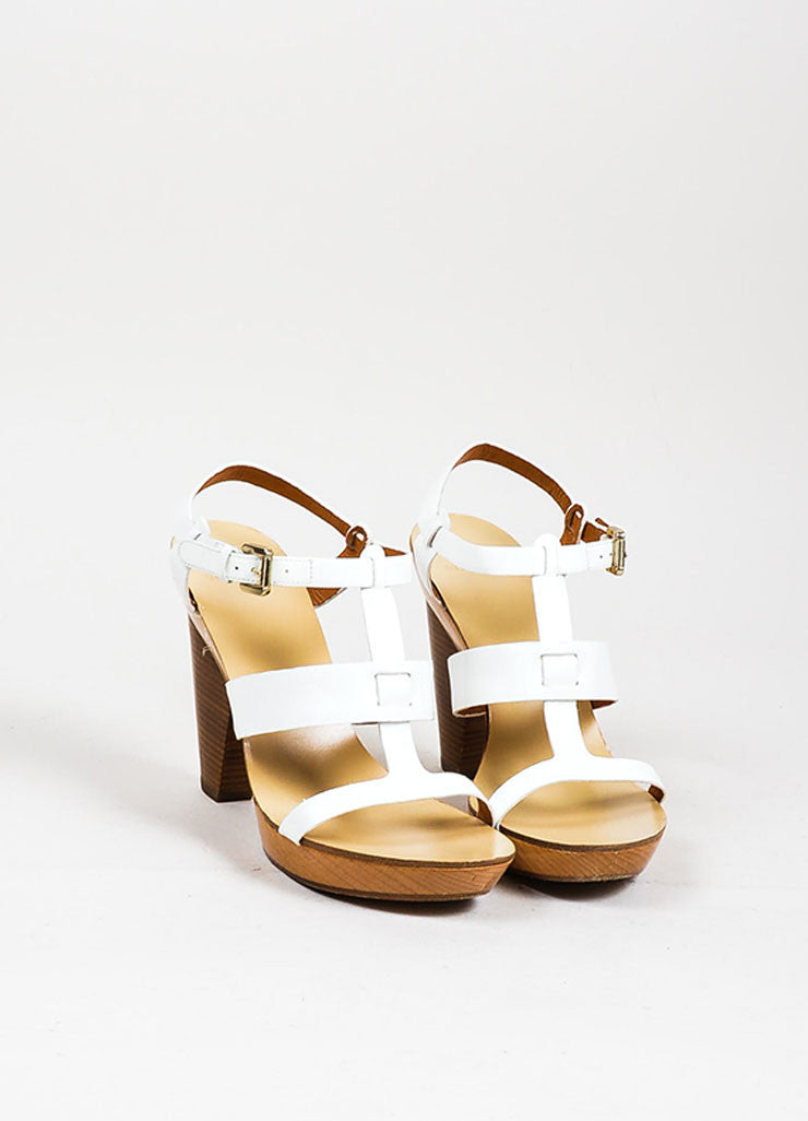 White and Tan Givenchy Patent Leather Strappy Wooden Platform Sandals Frontview