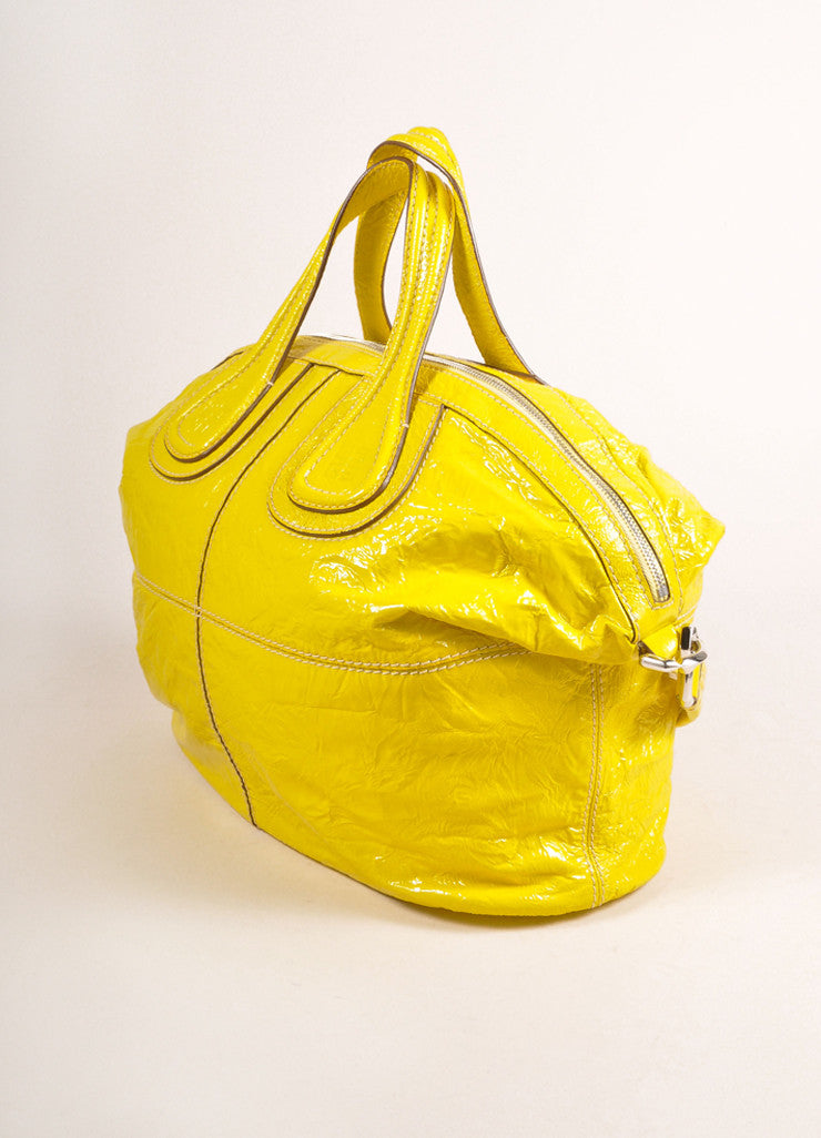 "Givenchy Canary Yellow Crinkled Patent Leather Medium ""Nightingale"" Bag Sideview"
