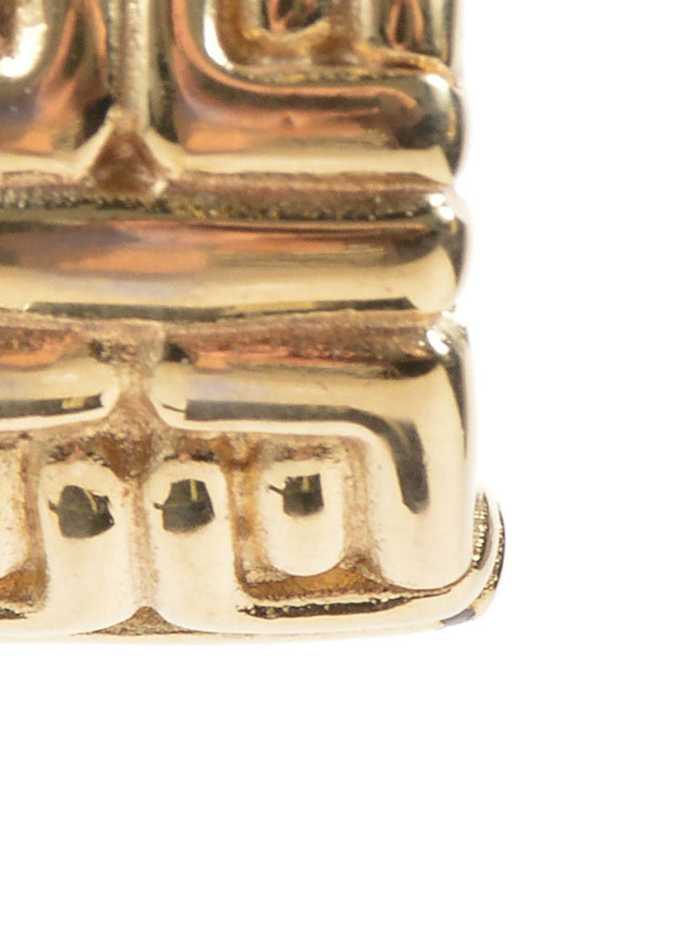 "Givenchy Gold Toned ""G"" Logo Chunky Half Hoop Earrings Detail"