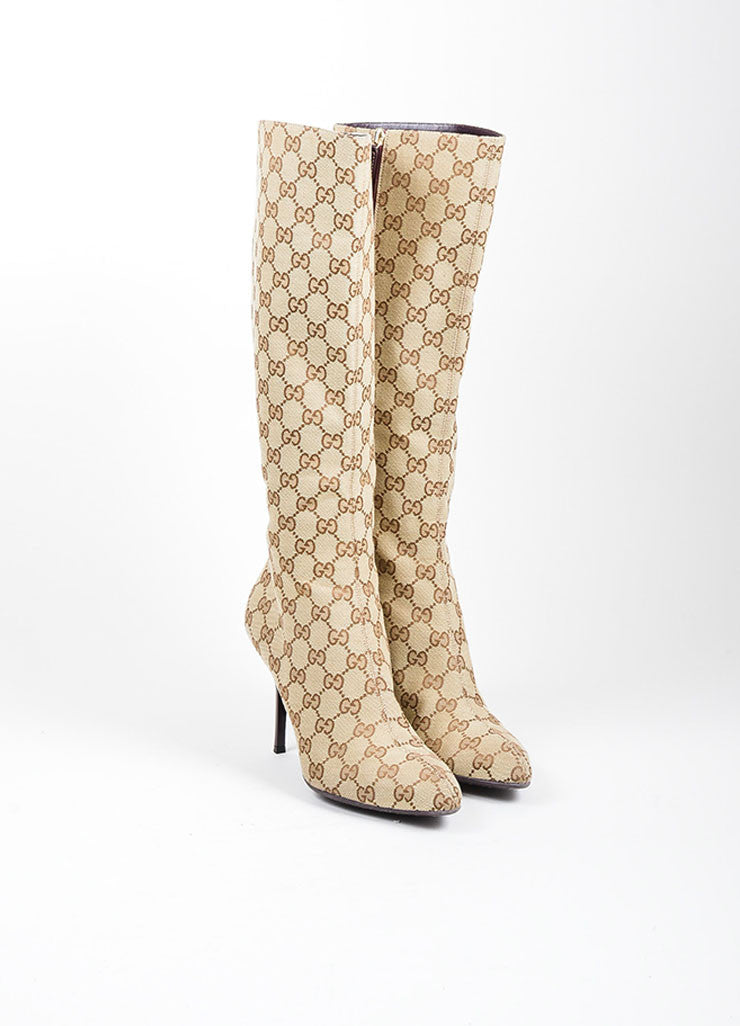 "Tan and Brown Canvas Gucci ""Guccissima"" Monogram Knee High Boots Frontview"