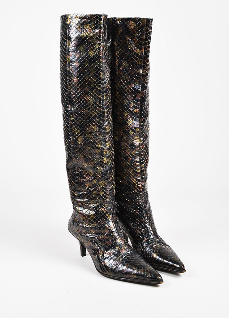 Gucci Black Bronze Multicolor Python Iridescent Knee High Boots Front