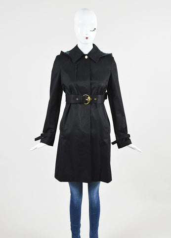 Gucci Black Twill Belted Hooded Jacket Frontview