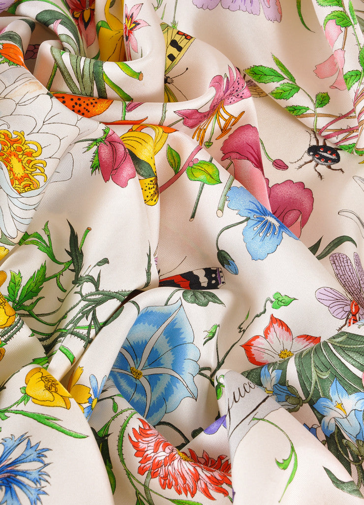 Gucci Cream and Multicolor Floral and Insect Print Silk Scarf Detail