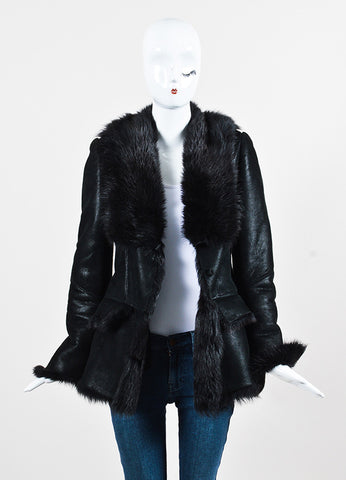 Gucci Metallic Black Leather and Fur Trimmed Patterned Coat Frontview