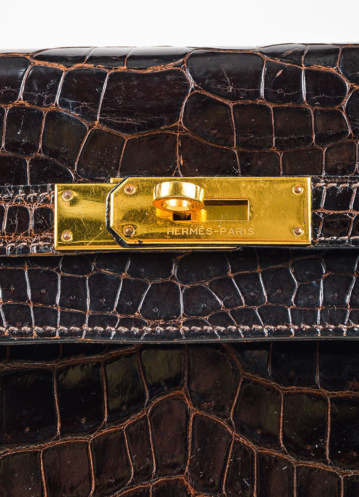 "Hermes Brown and Gold Toned Porosus Shiny Crocodile ""Kelly 32"" Handbag Detail 4"
