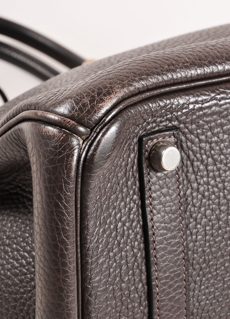 "Hermes Chocolate Brown and Silver Toned Palladium Clemence Leather 35cm ""Birkin"" Bag Detail"