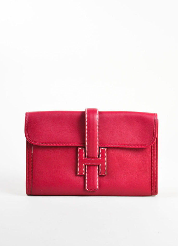 "Hermes Red ""Rouge"" Swift leather Toile Lined ""Jige PM"" Clutch Bag Frontview"