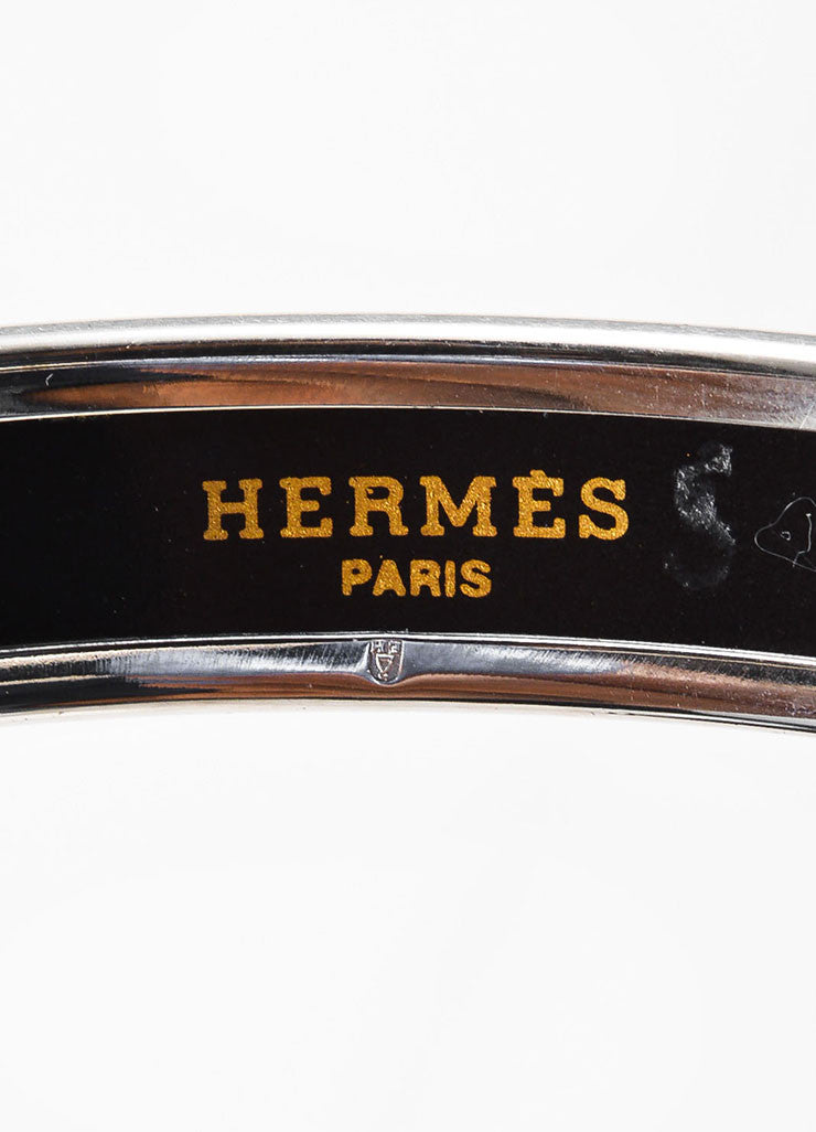 Hermes Silver Toned, Red, and Black Enamel Geometric Dot Printed Bangle Bracelet Brand