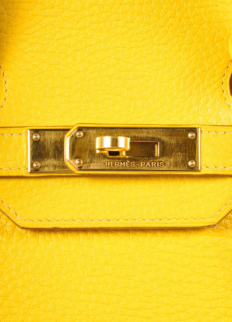 Hermes Yellow and Gold Toned Pebbled Togo Leather 35cm Birkin Bag Detail 6