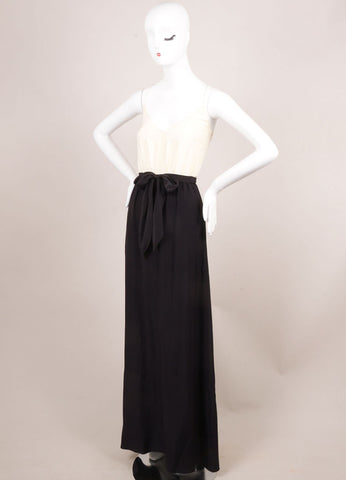 Holmes & Yang New With Tags Black and Ivory Silk Spaghetti Strap Maxi Dress Sideview