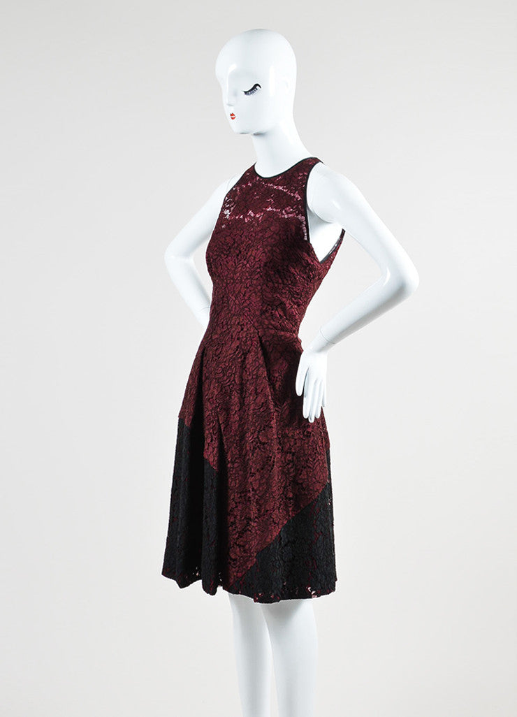 J. Mendel Maroon and Black Lace Pleated Sleeveless Cocktail Dress Sideview