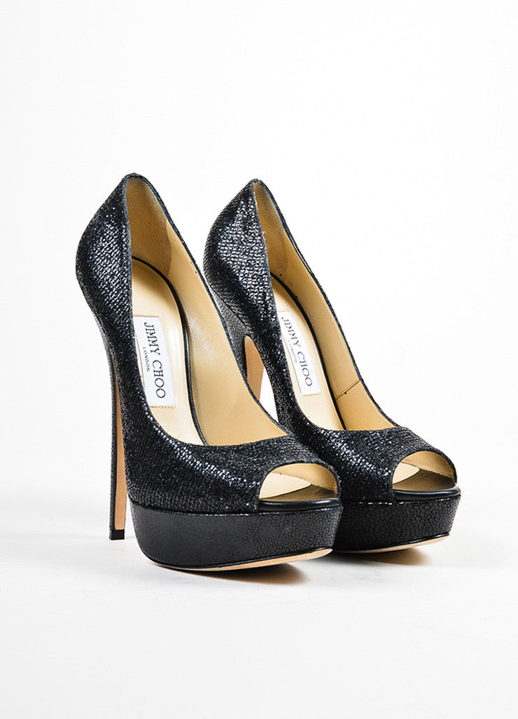 "Black Jimmy Choo Glitter Peep Toe High Heel Platform ""Vibe"" Pumps Frontview"