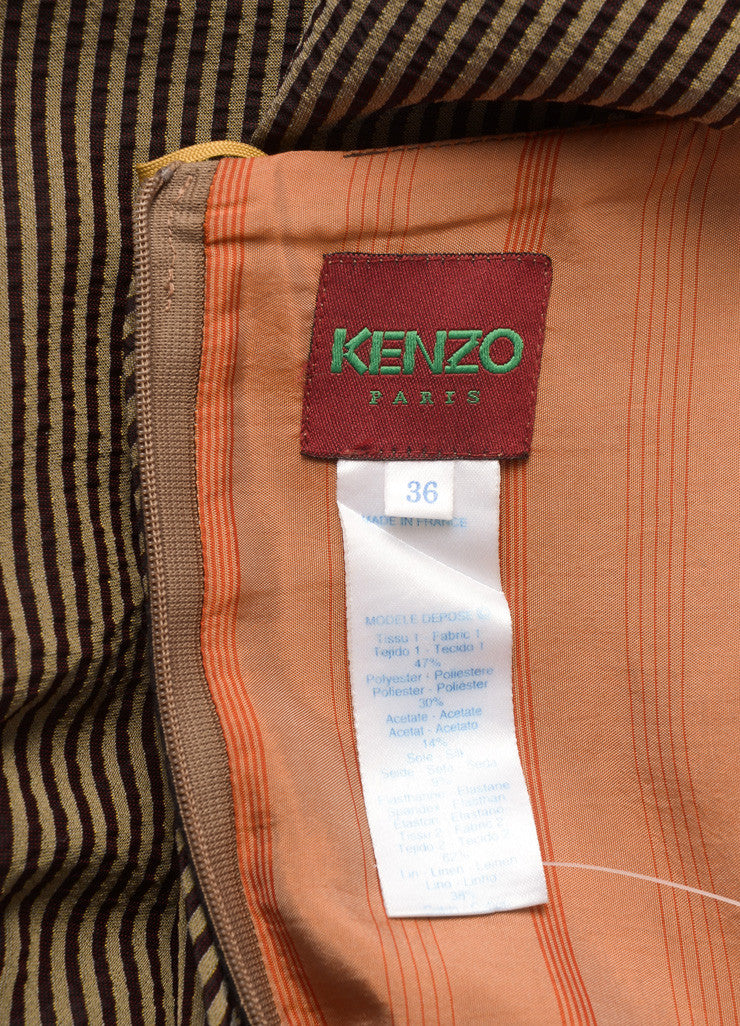 Kenzo Brown and Beige Textured Knit Contrast Stripe Layered Bubble Maxi Skirt Brand