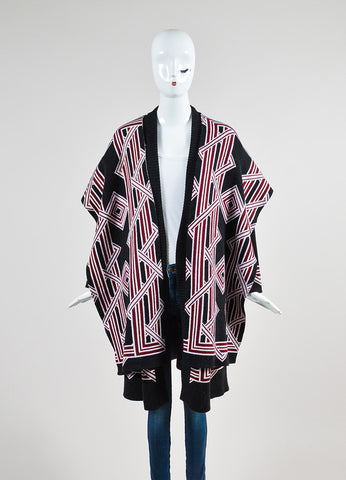Black, Red, and White Kenzo Wool Geometric Knit Cardigan Sweater Coat Frontview