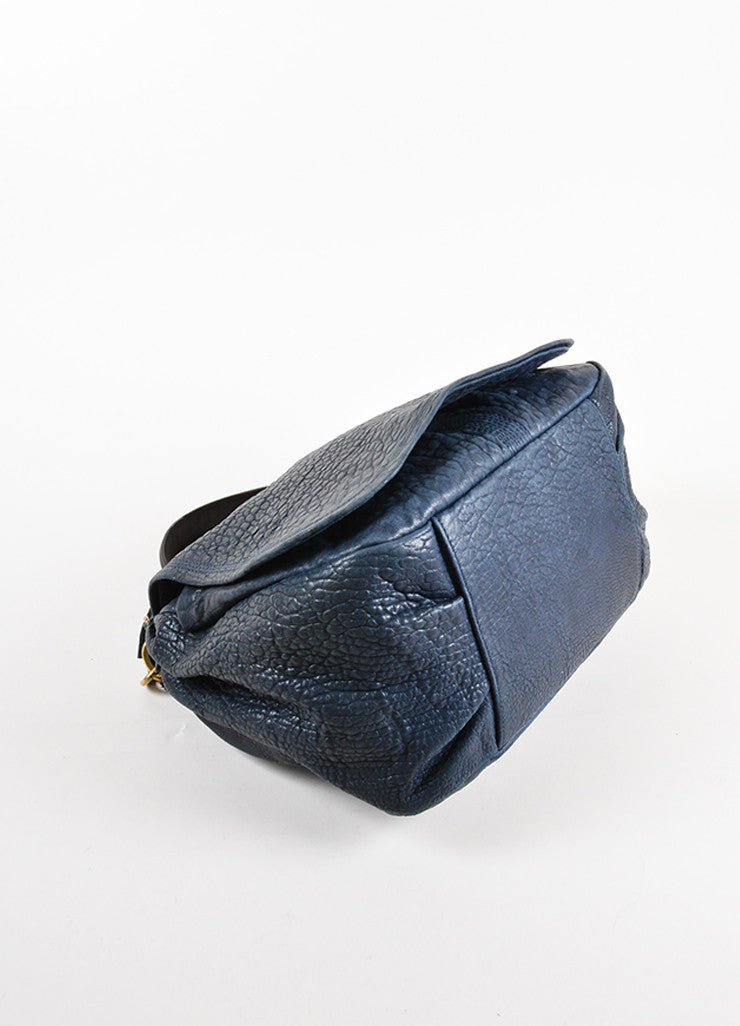 Lanvin Navy Blue Pebbled Leather Chain Strap Flap Shoulder Bag Bottom View