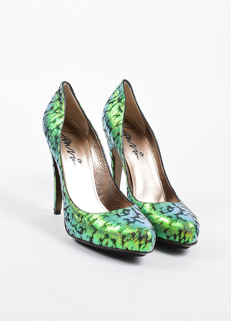 Green Lanvin Iridescent Brocade Pointed Toe Platform Pumps Frontview