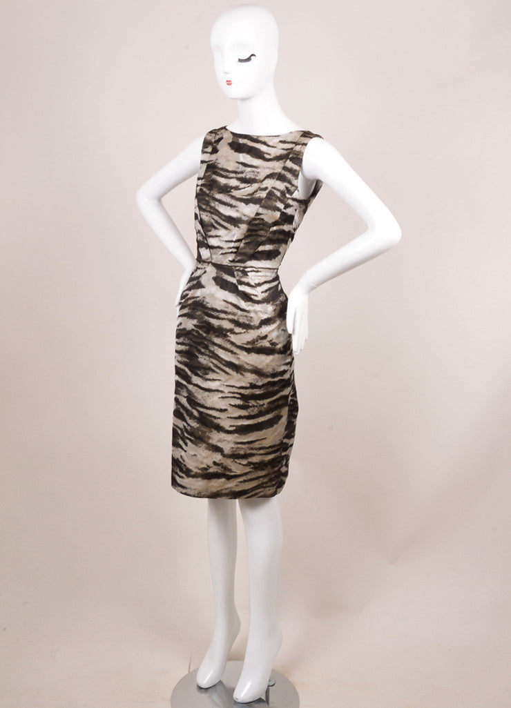 Lanvin New With Tags Black and Grey Silk Zebra Print Sleeveless Shift Dress Sideview
