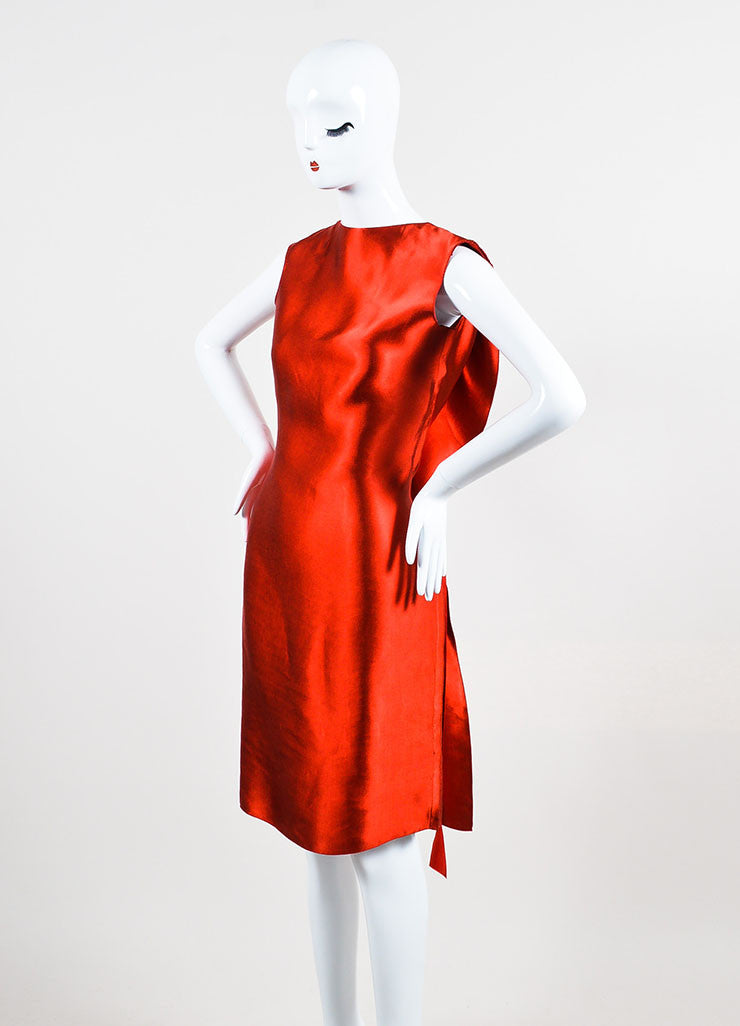 Lanvin Red Sateen Bow Draped Sleeveless Dress Sideview