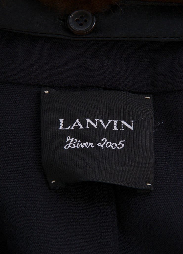 Lanvin Navy and Brown Wool Mink Collar Double Breasted Belted Trench Coat Brand