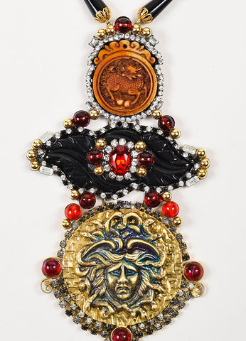 Lawrence Vrba  Gold Toned, Red, and Black Crystal Medusa Pendant Statement Necklace Detail