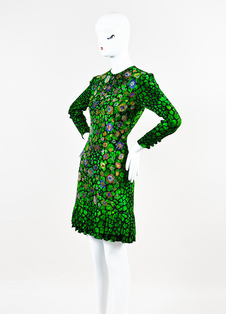 Libertine Green and Black Animal Print Rhinestone Pleated Hem Long Sleeve Dress Sideview