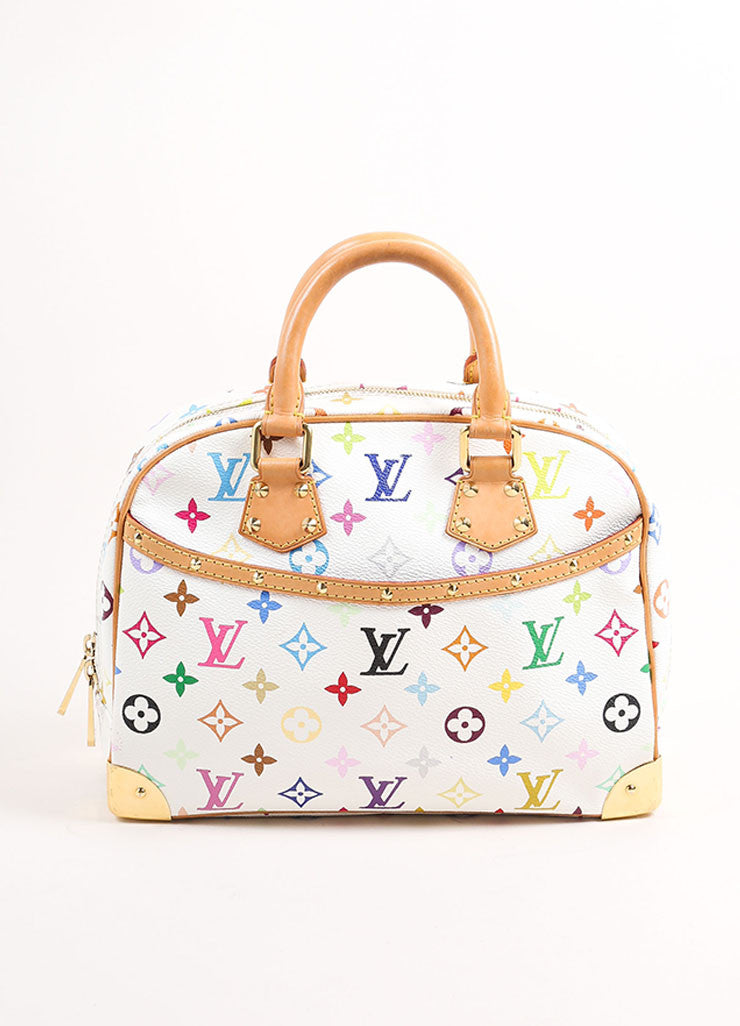 "Louis Vuitton White and Multicolor Monogram Canvas ""Trouville"" Satchel Bag Frontview"
