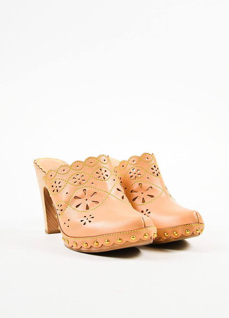 Beige Louis Vuitton Leather Eyelet and Top Stitch Clogs Front