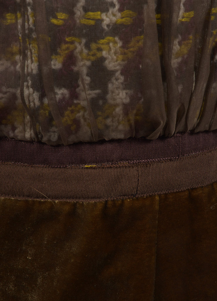 Louis Vuitton Brown and Green Chiffon Woven Knit Velvet Trim Pleated Skirt Detail