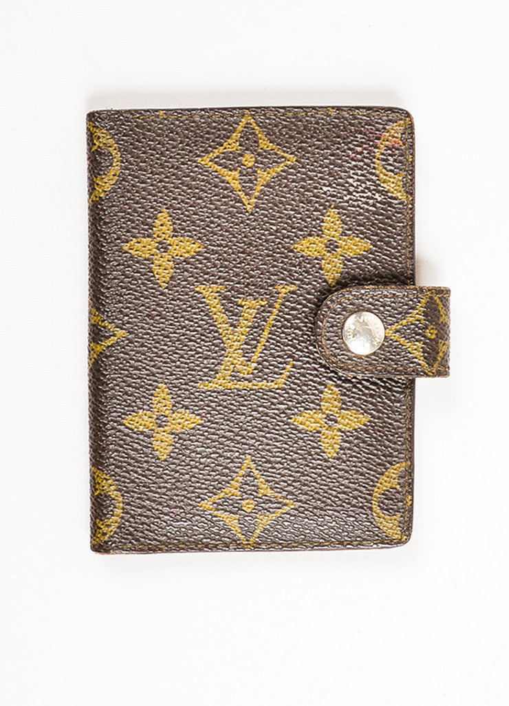 Louis Vuitton Brown and Tan Coated Canvas Monogram Snap Card Holder Wallet Frontview