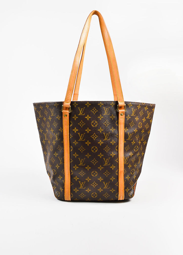 "Louis Vuitton Brown and Tan Monogram Coated Canvas ""Sac Shopping"" Tote Bag Frontview"