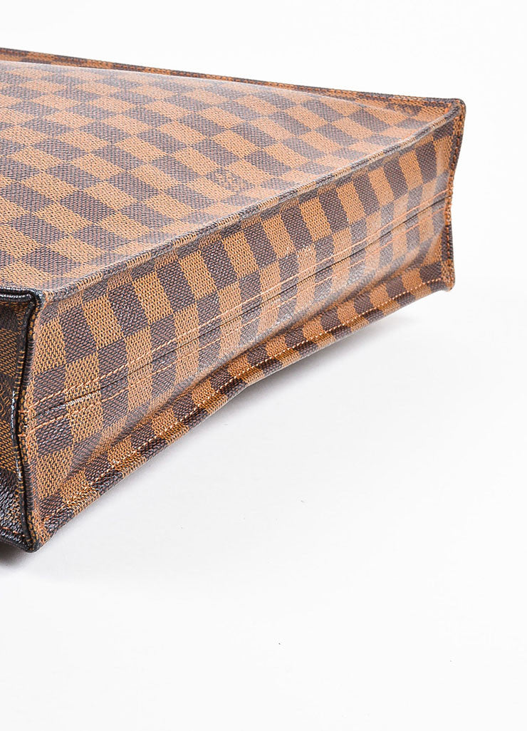 "Louis Vuitton ""Ebene"" Brown Coated Canvas Leather ""Damier Sac Plat NM"" Bag Bottom View"