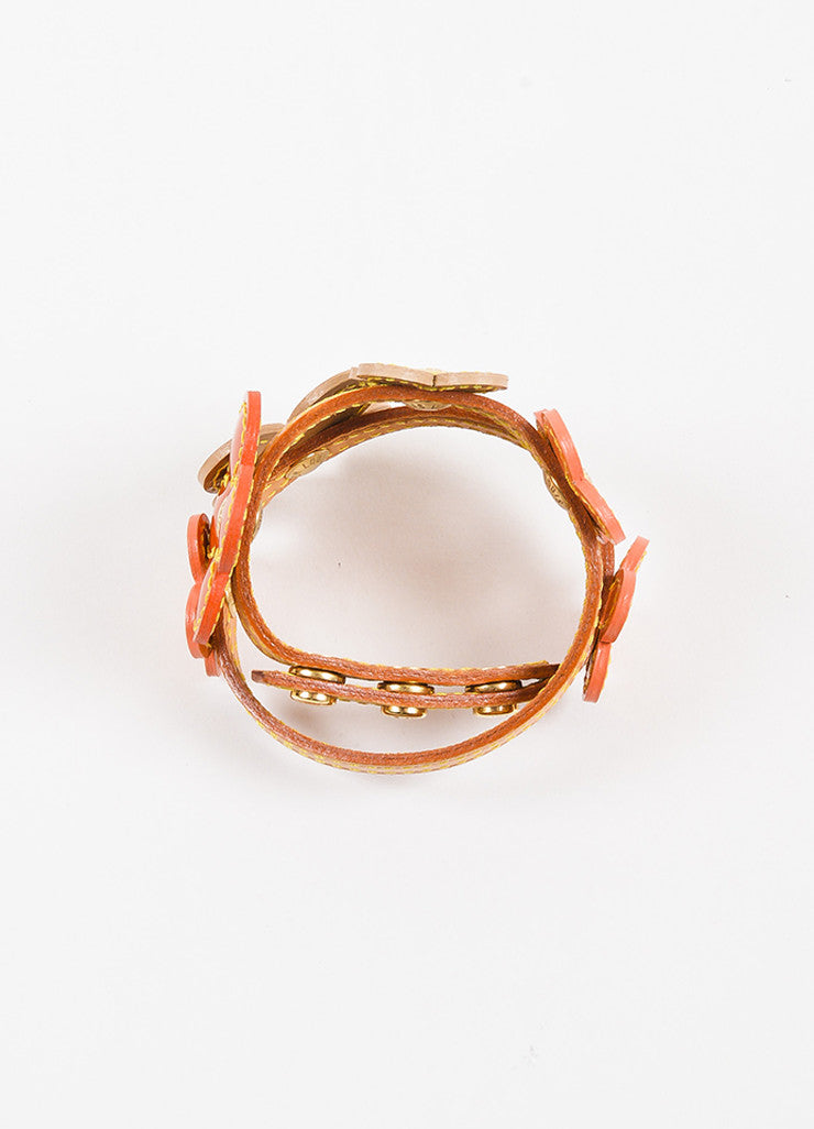 "Louis Vuitton Orange Tan Patent and Vachetta Leather ""Vernis Fleur"" Wrap Bracelet Topview"