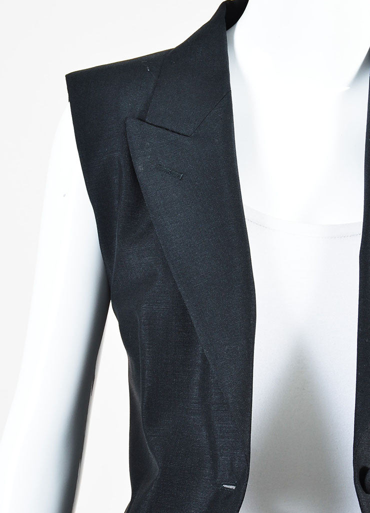 Maison Martin Margiela Black Wool Blend Full Length Tuxedo Vest Detail