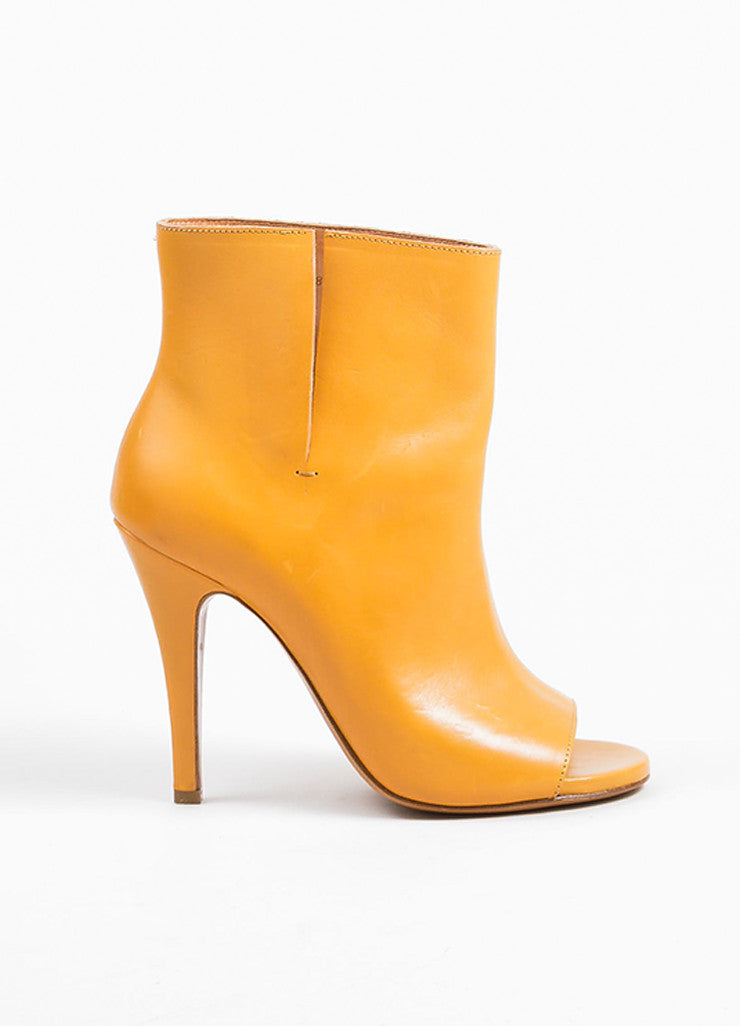 Tan Maison Martin Margiela Leather Open Toe Pull On Heeled Ankle Boots Sideview