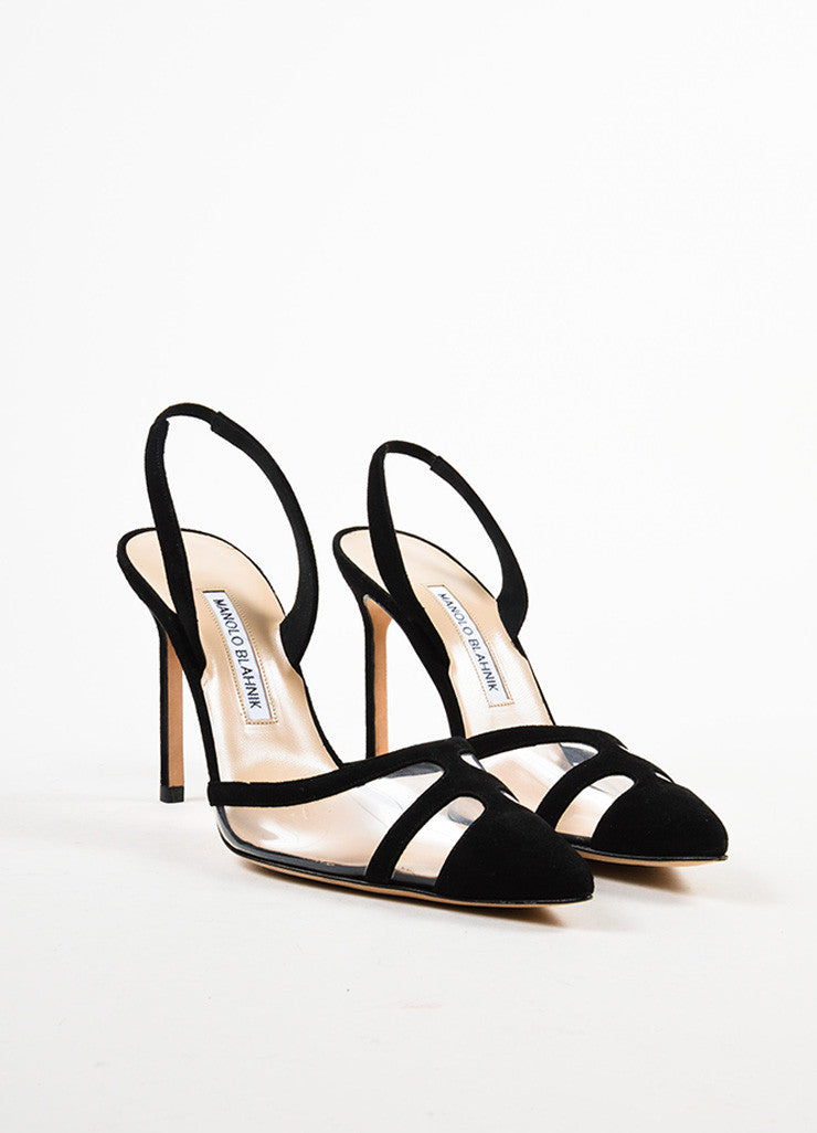 Black Manolo Blahnik Suede Pointed Toe Slingback Pumps Front