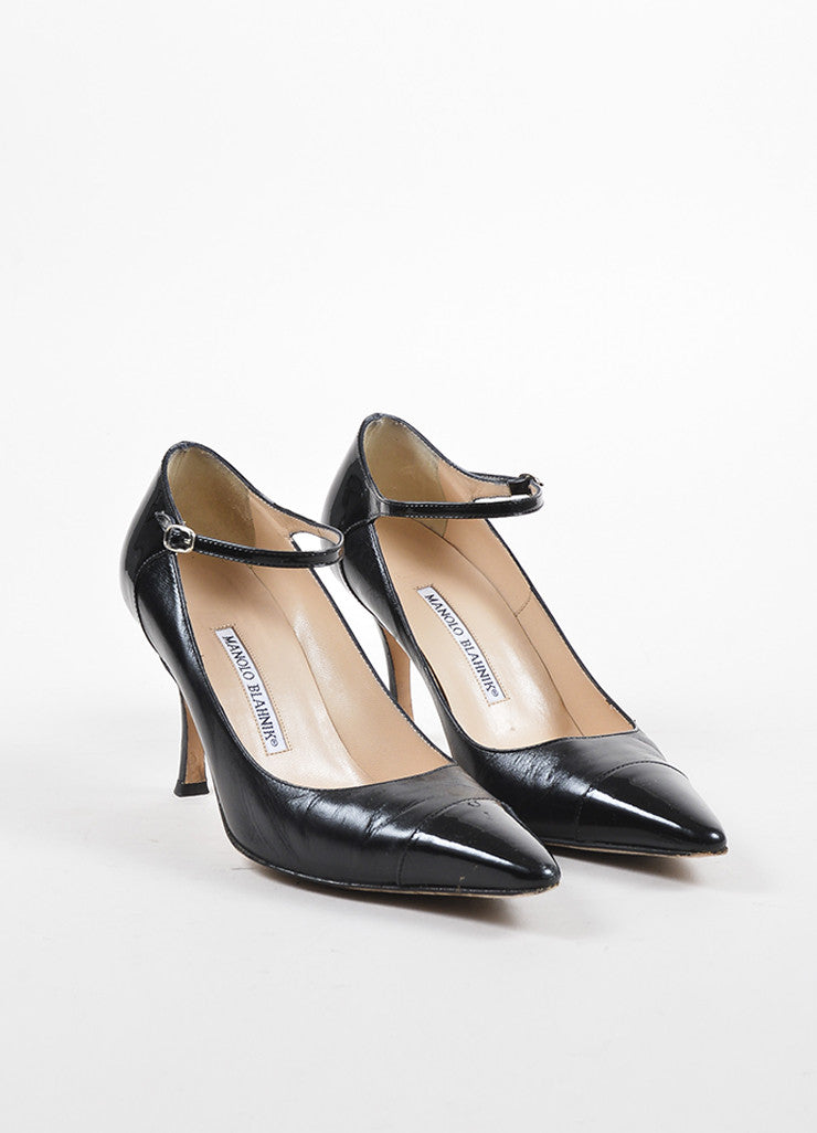 Manolo Blahnik Black Leather Patent Pointed Cap Toe Ankle Strap Pumps Frontview