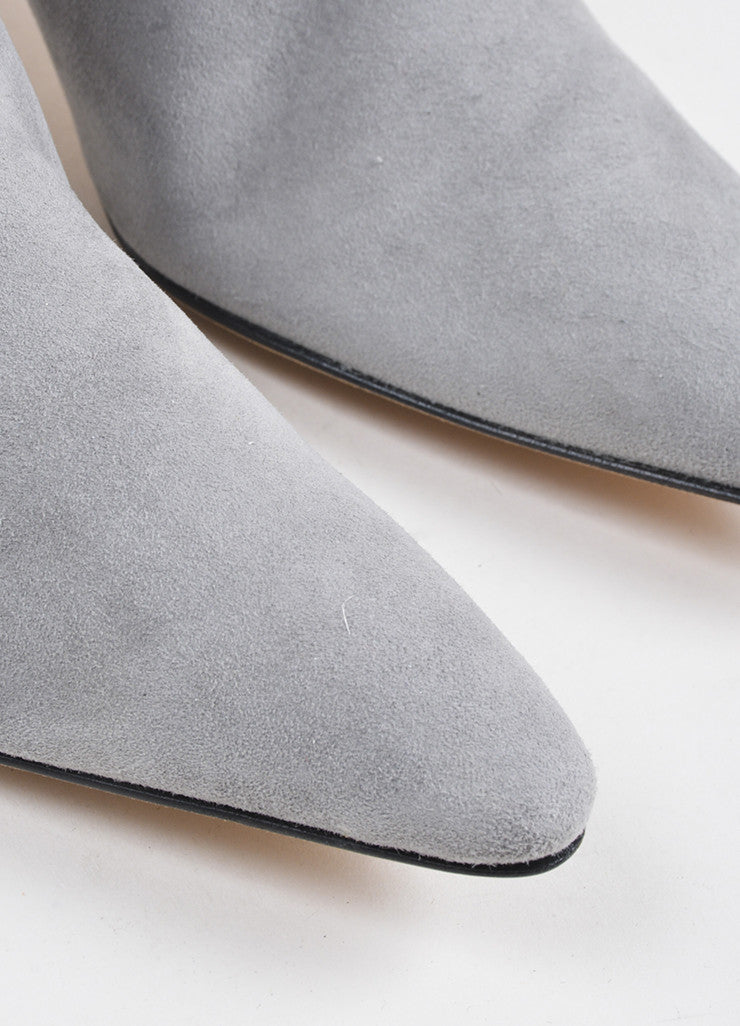 Manolo Blahnik Grey Suede Pointed Toe Heeled Knee High Boots Detail