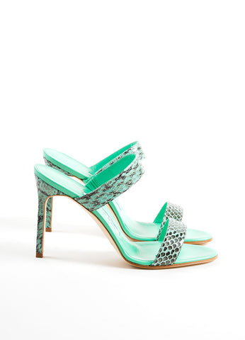 "Manolo Blahnik Green and Black Snakeskin ""Muluca"" Mule Sandals Sideview"