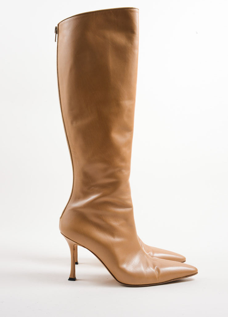 Manolo Blahnik Tan Leather Knee High Heeled Boots Sideview