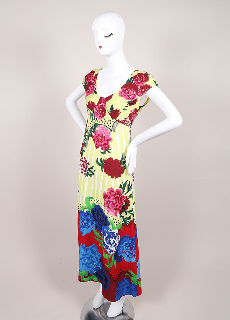 Marc Jacobs New With Tags Multicolor Floral Print Cap Sleeve Open Back Dress Sideview