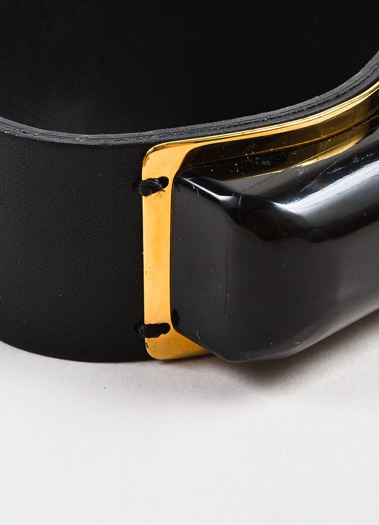 Marni Black and Gold Toned Leather and Resin Stone Snap Button Cuff Bracelet Detail