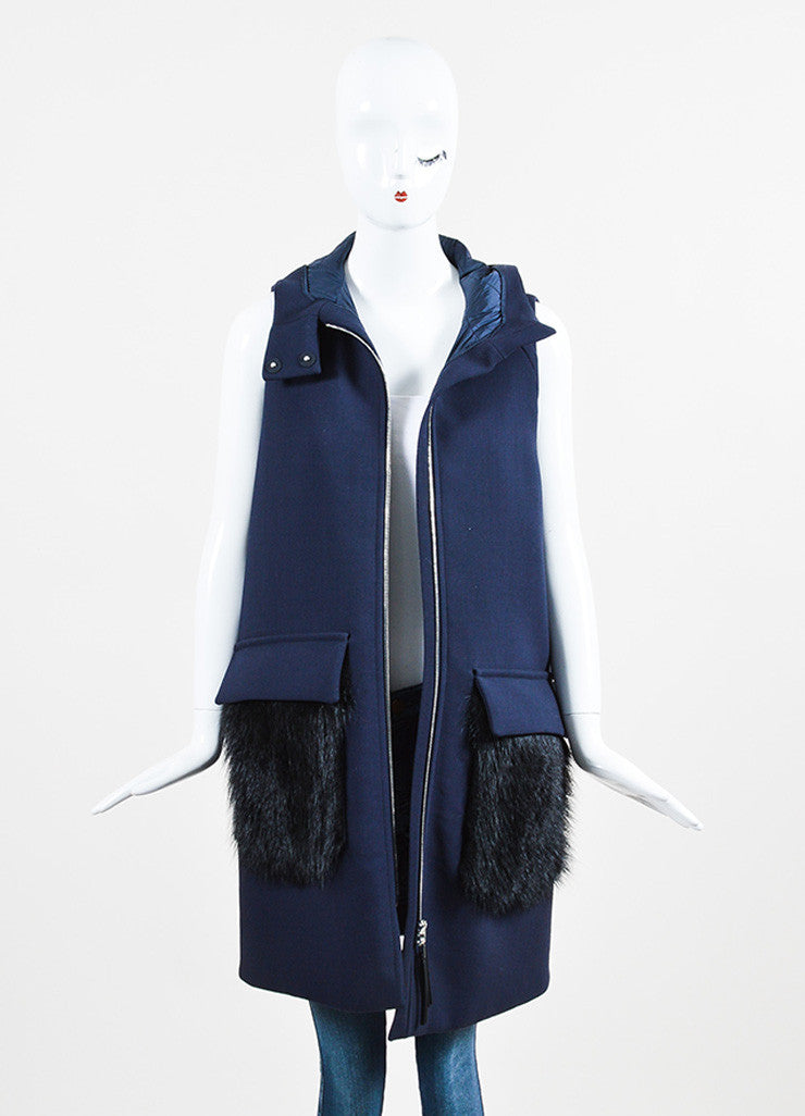 Navy Blue and Black Marni Wool Beaver Hair Pocket Hooded Vest Frontview