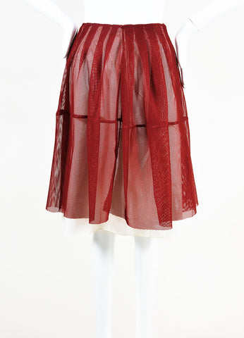 Marni Red Mesh Pleated A Line Skirt Front