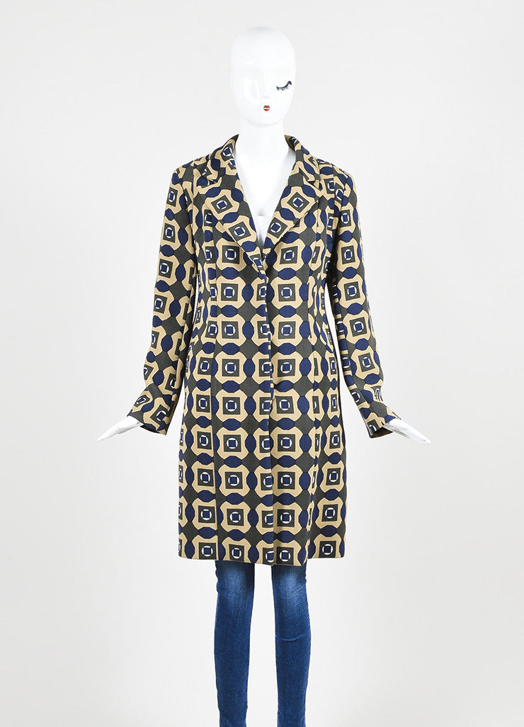 Tan, Green, and Blue Marni Woven Wool Geometric Print Three Button Long Coat  Frontview 2
