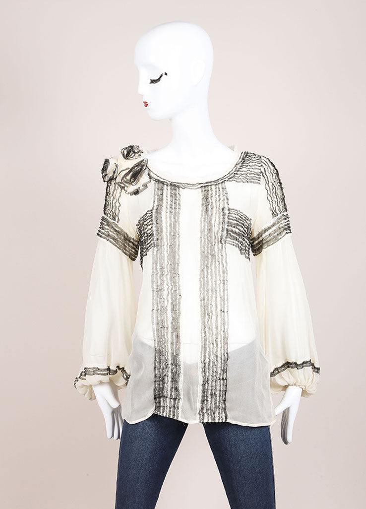 Maurizio Pecoraro Cream and Black Sheer Silk Long Sleeve Ruffle Blouse Frontview