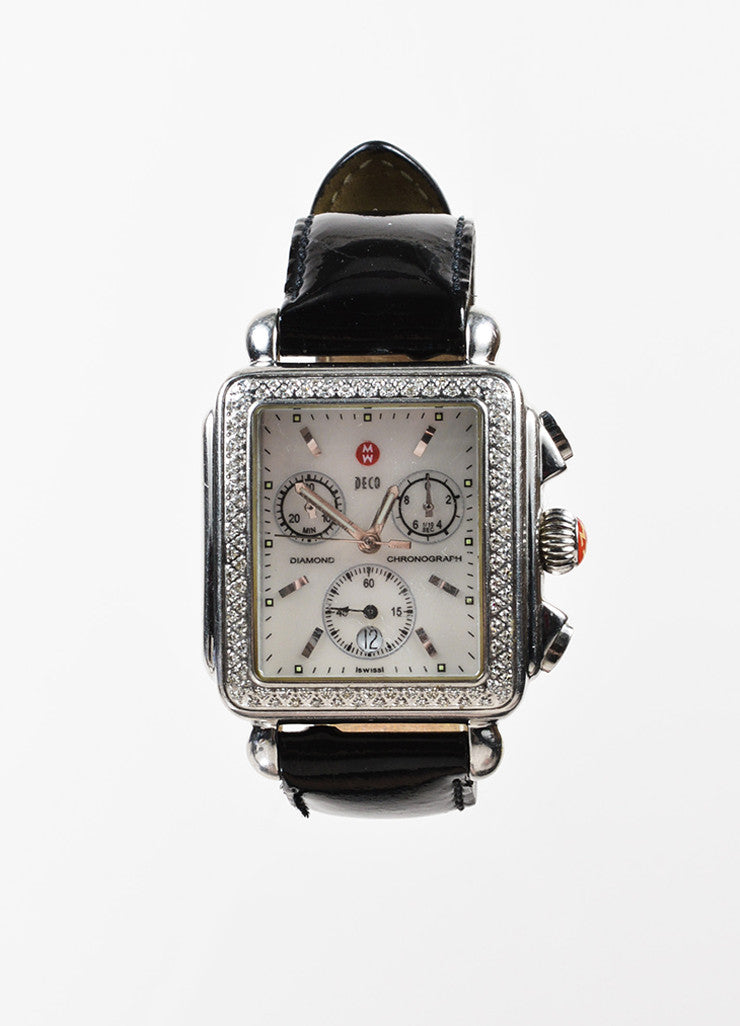 "Michele Stainless Steel, Black Patent Leather, and Diamond ""Deco"" Chronograph Watch Frontview"