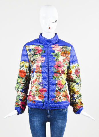 Moncler Blue and Multicolor Nylon Down Floral Print Puffer Jacket Frontview 2